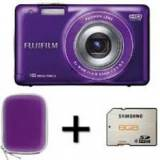 "Kit cámara digital fujifilm finepix jx550  purpura 16 mp zo x 5 HD LCD 2.7"" litio + funda + tarjeta 8GB"
