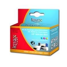 Kit De Recarga Imax Para Hp 300 / 301 / 901 Negro ( 1 Estacion De Recarga  + 3 Regargas Negro) 1215