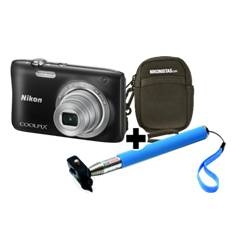 Kit Nikon Coolpix S2900 Negra 20.1 Mp Litio Zo 5x Hd  Lcd 2.7 Pulgadas  +  Estuche  +  Selfie Stick