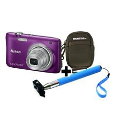 Kit Nikon Coolpix S2900 Morado 20.1 Mp Litio Zo 5x Hd  Lcd 2.7 Pulgadas  +  Estuche  +  Selfie Stick