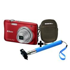 Kit Nikon Coolpix S2900 Rojo 20.1 Mp Litio Zo 5x Hd  Lcd 2.7 Pulgadas  +  Estuche  +  Selfie Stick 9