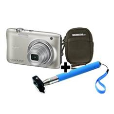 Kit Nikon Coolpix S2900 Plata 20.1 Mp Litio Zo 5x Hd  Lcd 2.7 Pulgadas  +  Estuche  +  Selfie Stick
