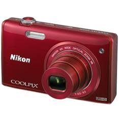 "KIT CAMARA DIGITAL NIKON COOLPIX S5200 ROJO 16 MP LITIO ZO 6X  HD 3D LCD 3"" WIFI + ESTUCHE + 5 AÑOS"