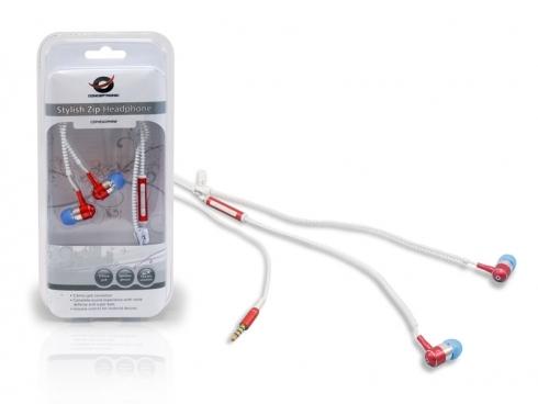 Auriculares Conceptronic Stylish Zip Rojo Y Blanco CZIPHEADPHRW
