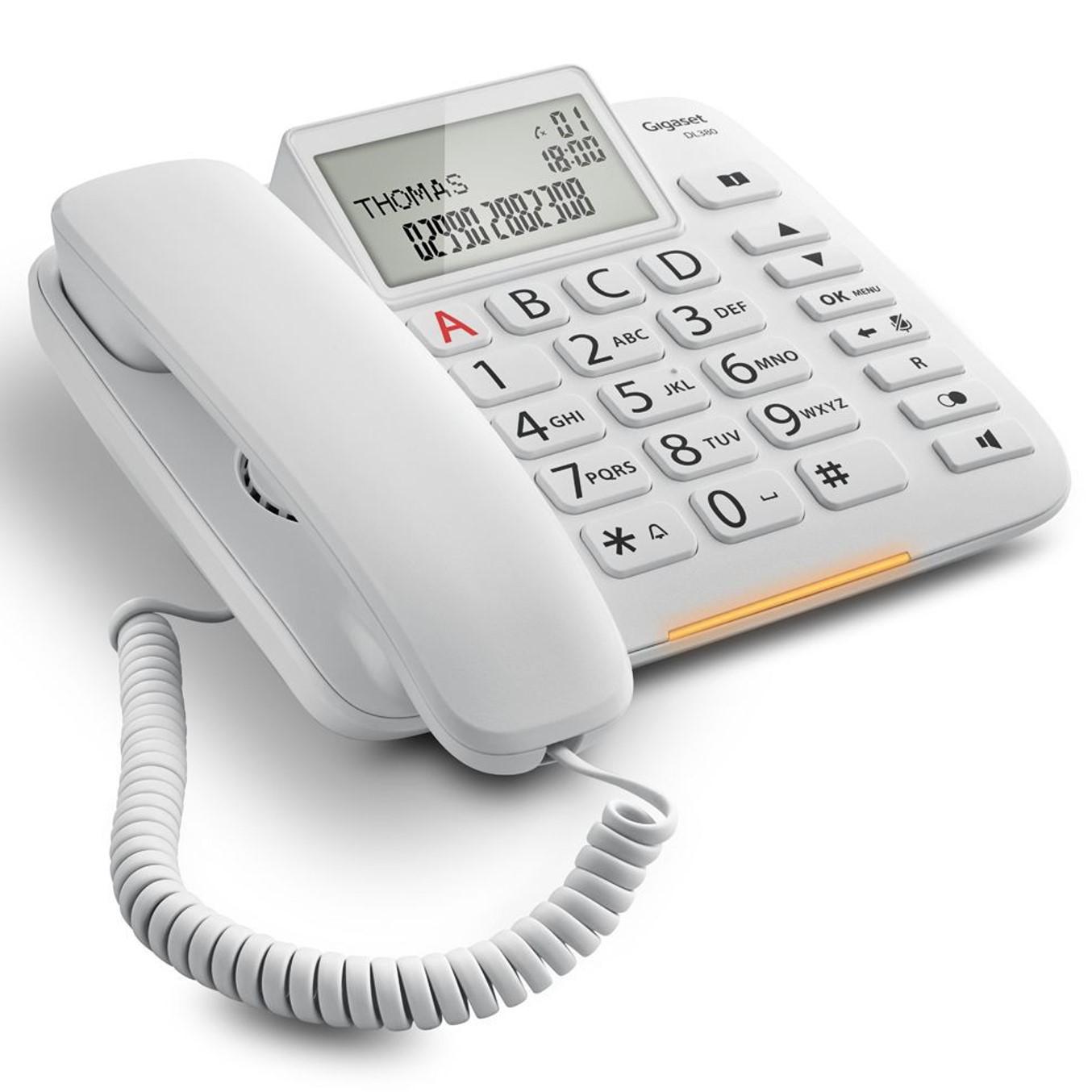 TELEFONO FIJO GIGASET DL380 BLANCO 99 NUMEROS AGENDA/ 10 TONOS