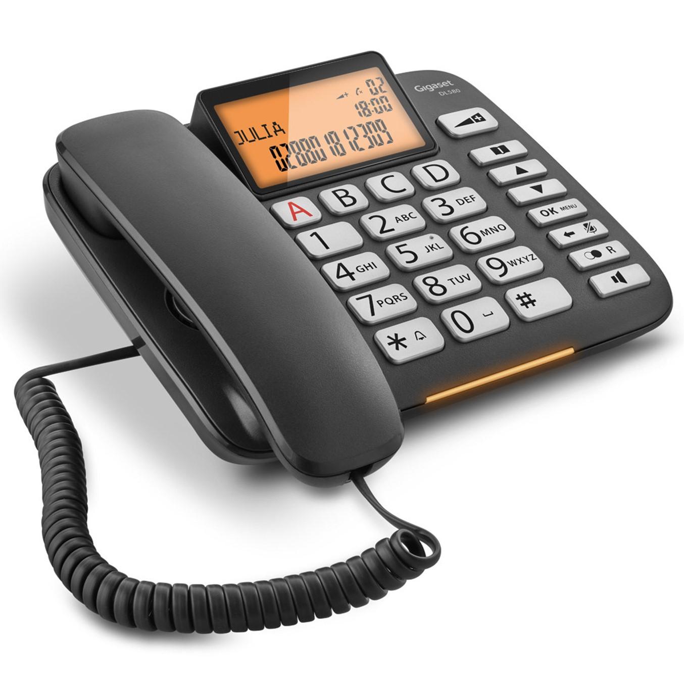TELEFONO FIJO GIGASET DL580 NEGRO 99 NUMEROS AGENDA/ 10 TONOS