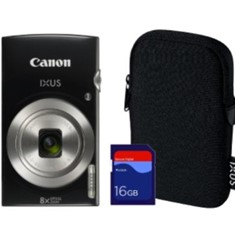 "CAMARA DIGITAL CANON IXUS 185 HS NEGRA 20MP ZOOM 16X/ ZO 8X/ 2.7""+ FUNDA+TARJETA 16GB"