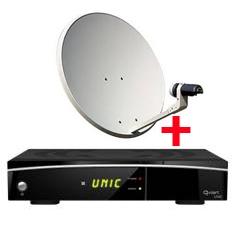 RECEPTOR SATELITE QVIART UNIC+ KIT COMPLETO ANTENA PARABOLICA TV SATELITE SATYCON 60CM