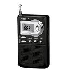 Radio Nevir Digital De Bolsillo Sintonizadora Alarma Reloj Negro NVR-123NEGRO