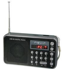Radio Nevir Digital De Bolsillo Sintonizadora Lector Microsd Negro Con Correa De Mano NVR-129DUCNEGR