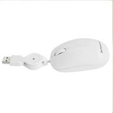 Mini Mouse Raton  Optico Phoenix Tacto Suave Con Cable Retractil Usb 1.000dpi Blanco PH1010W