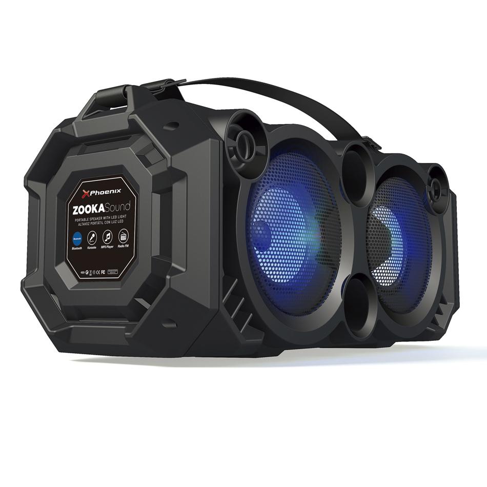 ALTAVOZ PORTATIL PHOENIX 24W CON LUZ LED / BLUETOOTH / RADIO FM / USB / MICROSD / AUX-IN / ENTRADA DE MICROFONO