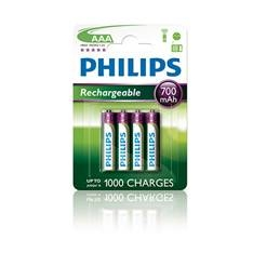 Blister Philips Cuatro Pilas Aaa Recargable R03nm 700 Mah Multilife Nimh 1.2v R03B4A70/10