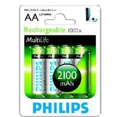 Blister Philips Cuatro Pilas Aa Recargable R6nm 2100mah Nimh Multilife 1.2v R6B4A210/10