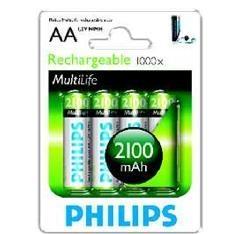 Blister Philips Cuatro Pilas Aa Recargable R6nm 2100mah Nimh Multilife 1.2v R6B4A210/10