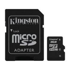 Tarjeta Memoria Micro Secure Digital Sd Hc 8gb Kingston  +  Adaptador Sd SDC4/8GB