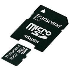 Tarjeta Memoria Micro Secure Digital Sd 8gb Transcend Clase 4 Adaptador TS8GUSDHC4