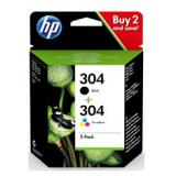Pack 2 cartucho tinta hp 304 negro y color 3720 / 3721 / 3722 / 3750 / 5030