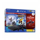 Consola sony ps4 slim 500GB + horizon zero dawn complete edition + ratchet and clank + marvel spider-man