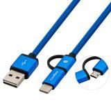Cable multiUSB2.0 coolbox carga mas datos microUSB USB-c USB-a 1m.