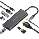 Docking station portable hub USB tipo c Phoenix 9 en 1