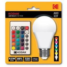 BOMBILLA LED KODAK RGB A60 / E27/ 6.5W=55W / MANDO A DISTANCIA