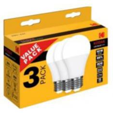BOMBILLA LED KODAK GLOBO A60/ E27/ 806LM/ CALIDO 3000K/ 10W=60W/ NO REGULABLE BLISTER 3 UD