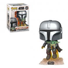 Funko Pop Star Wars The Mandalorian Mandalorian Volando con Jet & Baby Yoda