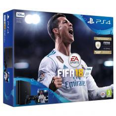 CONSOLA SONY PS4 500GB NEGRA + FIFA 18 + PS PLUS 14 DIAS