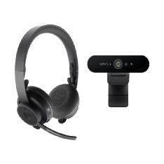 KIT PROFESIONAL VIDEO COLABORACION LOGITECH WEBCAM BRIO 4K + AURICULARES ZONE WIRELESS