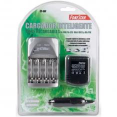 CARGADOR DE PILAS RECARGABLES FONESTAR CP-80P NI-MH  4 PILAS R03-AAA O 4 PILAS R6-AA