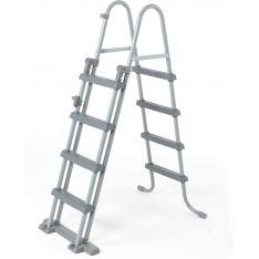 Bestway 58331 - Escalera de seguridad para piscinas elevadas 4 peldaños a cada lado altura 122 cm