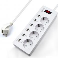 REGLETA EWENT 4 TOMAS SHUCKO CON 6 PUERTOS USB 6 A Y 1.8 METROS DE CABLE