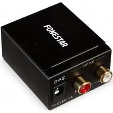 CONVERTIDOR DE AUDIO FONESTAR FO-37DA / AUDIO DIGITAL EN ANALÓGICO / ENTRADA ÓPTICA SPDIF - COAXIAL SPDIF / SALIDA AUDIO ESTÉREO / 2X RCA