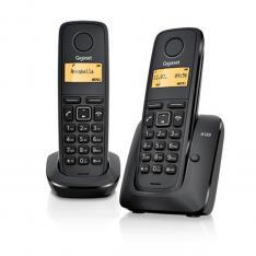 TELEFONO FIJO INALAMBRICO GIGASET A120 DUO NEGRO 50 NUMEROS AGENDA/ 10 TONOS