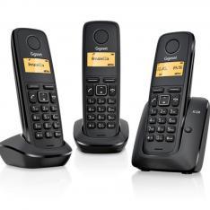 TELEFONO FIJO INALAMBRICO GIGASET A120 TRIO NEGRO 50 NUMEROS AGENDA/ 10 TONOS