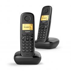 TELEFONO FIJO INALAMBRICO GIGASET A170 DUO NEGRO 50 NUMEROS AGENDA/ 10 TONOS