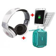 KIT ALTAVOCES + AURICULARES +POWER BANK BLANCO/TURQUESA