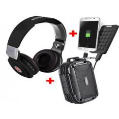KIT ALTAVOCES + AURICULARES +POWER BANK NEGRO