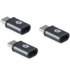 KIT ADAPTADORES CONCEPTRONIC USB TIPO C 3.1 MACHO A MICRO USB HEMBRA OTG PACK 3 UNIDADES