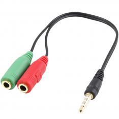 CABLE ADAPTADOR DE AUDIO EWENT JACK 3.5MM MACHO A JACK 3.5MM HEMBRA X2 NEGRO 0.15M
