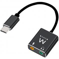 CABLE ADAPTADOR DE AUDIO EWENT USB TIPO C A JACK 3.5MM X2