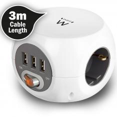 REGLETA CUBICA EWENT EW3953 3 TOMAS SHUCKO 3 PUERTOS USB Y 3 METROS DE CABLE