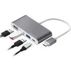 HUB LOGAN USB TIPO C SILVER HT 4 EN 1/ 2 USB 2.0/ USB 3.0/ USB TIPO C/ SILVER