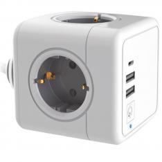 REGLETA ENCHUFES SILVER ELECTRONICS E-BLOCK 4 SALIDAS/ 2 USB/ 1 USB TIPO C + INTERRUPTOR
