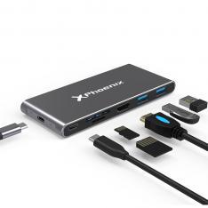 CAJA EXTERNA PORTATIL / CARCASA DISCO DURO M.2 / HUB 6 EN 1 PHOENIX CONEXION USB TIPO C / 3 USB 3.0 / HDMI 4K / LECTOR TARJETAS / PD 60W / ALUMINIO COLOR NEGRO