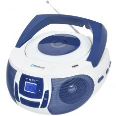 RADIO CD MP3 PORTATIL NEVIR NVR- 481UB BLANCO AZUL / BLUETOOTH