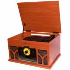 GIRADISCOS/ TOCADISCOS CON RADIO CD CONVERSOR BLUETOOTH NEVIR NVR-807VRBUC DE MADERA