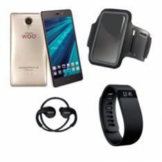 TELEFONO MOVIL SMARTPHONE WOO CASIOPEA 3 DORADO  5 + PULSERA DE ACTIVIDAD +  BRAZALETE IMPERMEABLE + AURICULARES DEPORTIVOS
