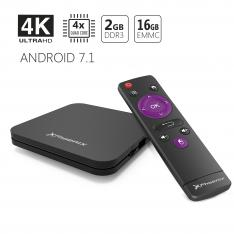 ANDROID TV BOX 4K PHOENIX   ANDROID 7.1 TV NATIVO   2GB RAM   16GB ROM   CORTEX-A53   GPU-MALI 450   DISEÑO DELGADO